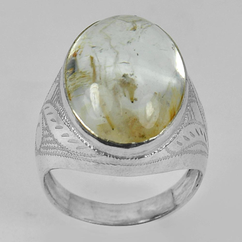 Attractive 8.17 G. Quartz 925 Sterling Silver Jewelry Ring Sz 9 US