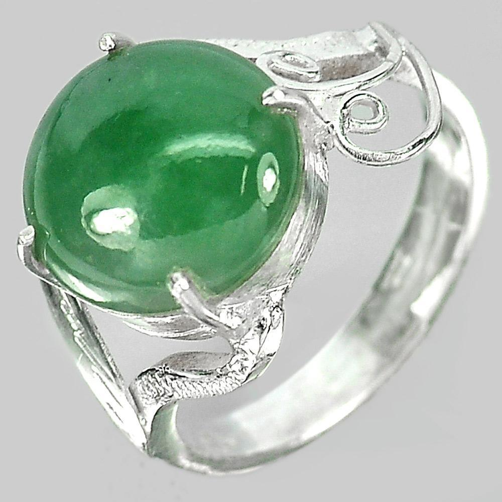 4.02 G. Oval Cabochon Natural Gem Green Jade 925 Sterling Silver Ring Size 7.5