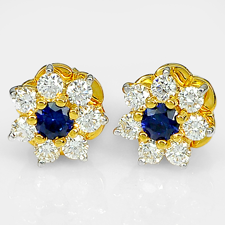 0.19 Ct. Round Natural Blue Sapphire with White Diamond 18K Solid Gold Earrings