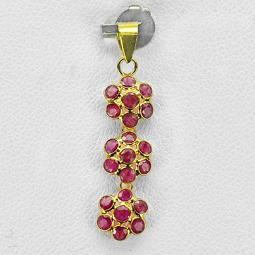 1.78 Ct. Natural Purplish Red Ruby 18k Gold Jewelry Pendant