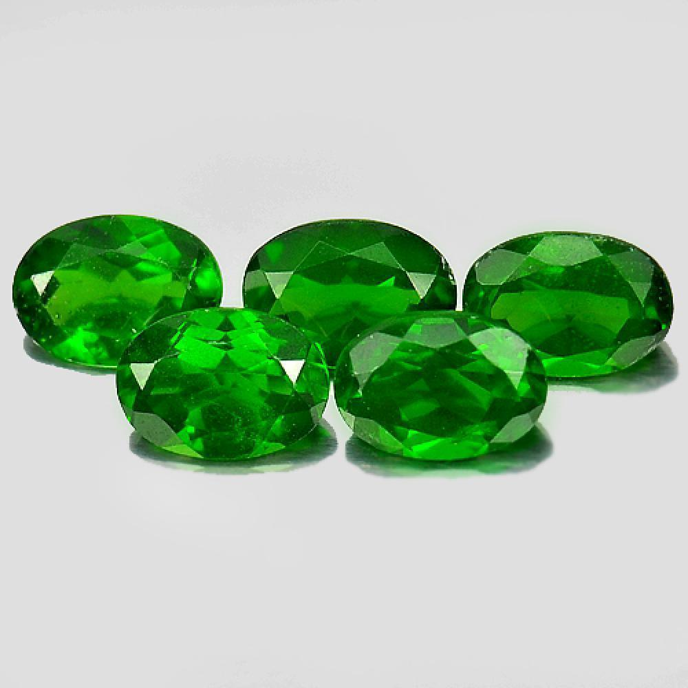 4.18 Ct. 5 Pcs. Charming Oval Shape Natural Green Chrome Diopside Gems