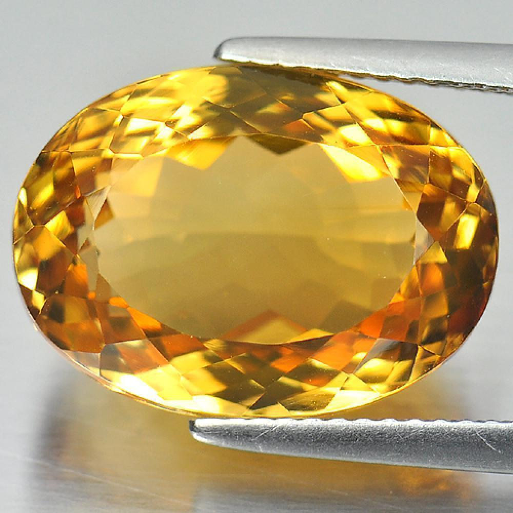 11.66 Ct. Oval Shape 16.2 x 12 Mm. Natural Gemstone Clean Yellow Citrine Brazil