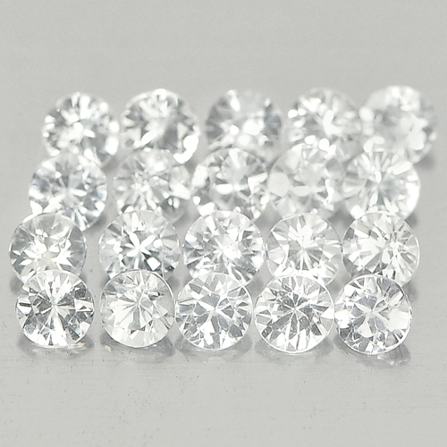 1.16 Ct. 20 Pcs. Round Diamond Cut Natural Gems White Sapphire Ceylon