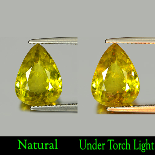 4.30 Ct. Natural Intense Yellowish Green Titanium Sphene With  Rainbow Spark