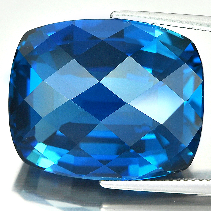 Natural Gemstone 47.13 Ct. Clean Cushion Checkerboard London Blue Topaz