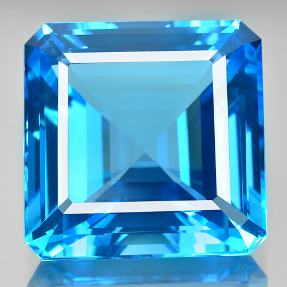 Natural Gemstone 228.97 Ct. 34 x 34mm. Clean Swiss Blue Topaz From Brazil