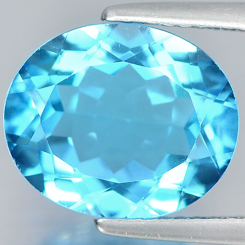 Natural Gemstone 5.08 Ct. Nice Oval Shape Swiss Blue Topaz Brazil