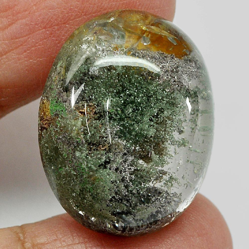 39.75 Ct. Oval Cabochon Natural White Brown Moss Quartz